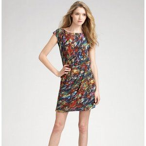 Theory Arena Abstract Paint Print Silk Dress Sz 4
